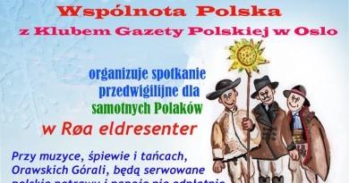 Spotkanie przedwigilijne dla samotnych Polaków