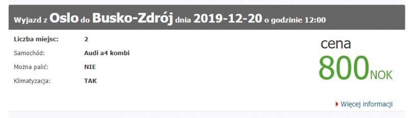 Przykładowa wspólna podróż autem z Norwegii do Polski w grudniu 2019.
