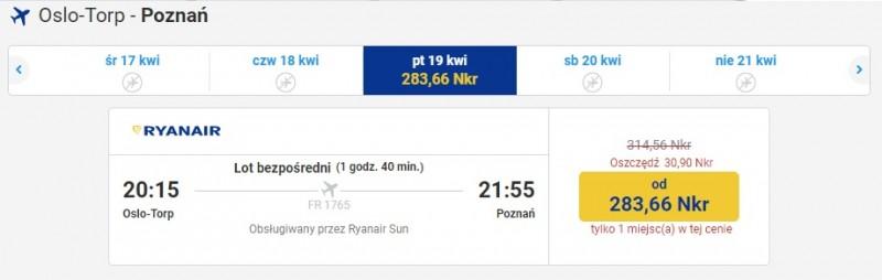 Ostatnie promocyjne bilety zostały na lot z lotniska Torp do Poznania.