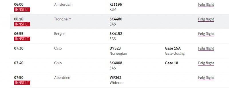 Tak wygląda tablica porannych odlotów z lotniska Stavanger.
