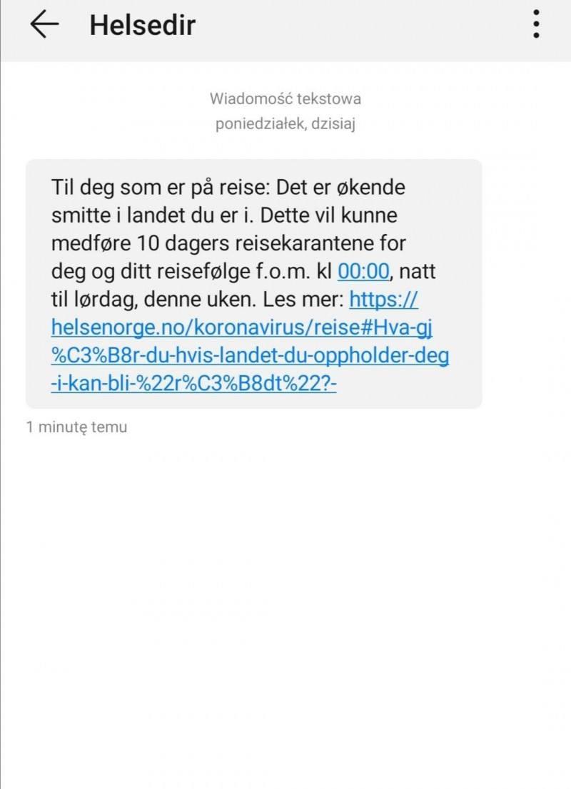 Polacy mieszkający w Norwegii otrzymali SMSy, które wyjaśniają zasady 10-dniowej kwarantanny.
