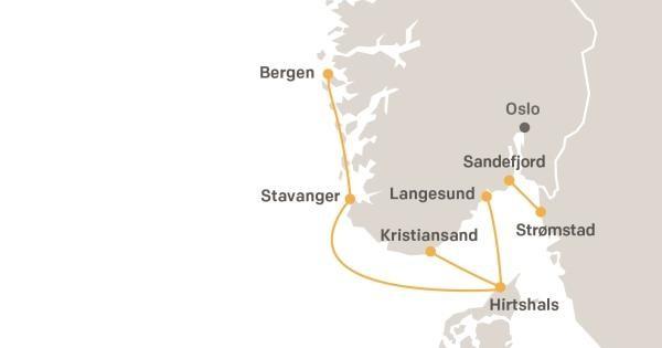 Wszystkie trasy, na których kursują promy Fjord Line.