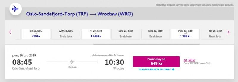 Loty do Wrocławia z Norwegii w grudniu 2019.