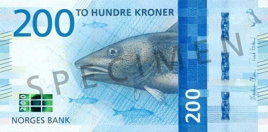 front nowego norweskiego banknotu 200-koronowego