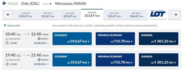 Przykładowe loty z Oslo do Warszawy oferowane przez PLL LOT .
