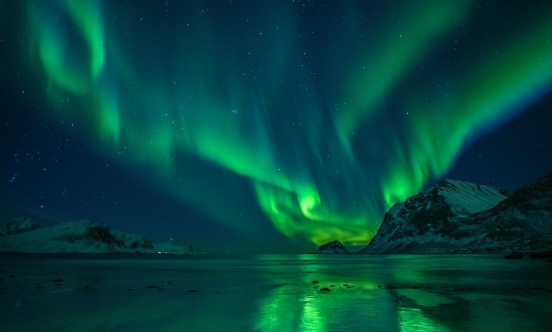 Zorza polarna uchwycona na dalekiej północy.