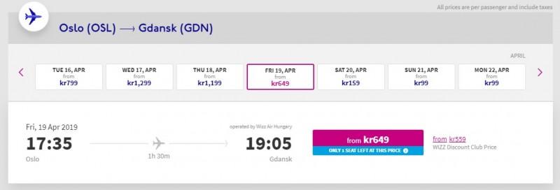 20 i 21 kwietnia z Oslo do Gdańska można polecieć już za 99 koron.
