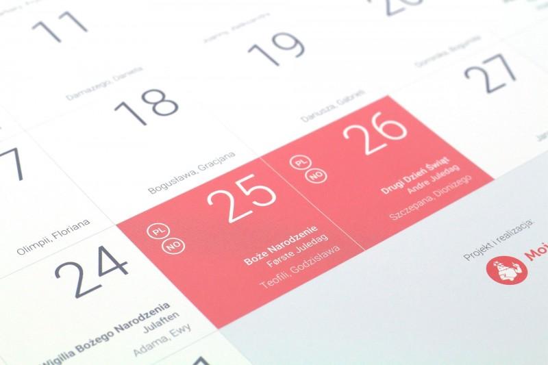 To jedyny taki kalendarz, w którym znajdują się polskie i norweskie święta oraz dni wolne od pracy