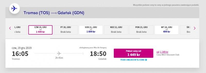 Ceny biletów z Tromsø do Gdańska.