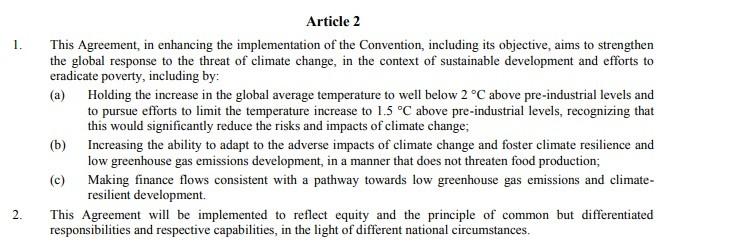 Artykuł 2 z porozumienia COP21. Dotyczący ograniczenia wzrostu temperatury.