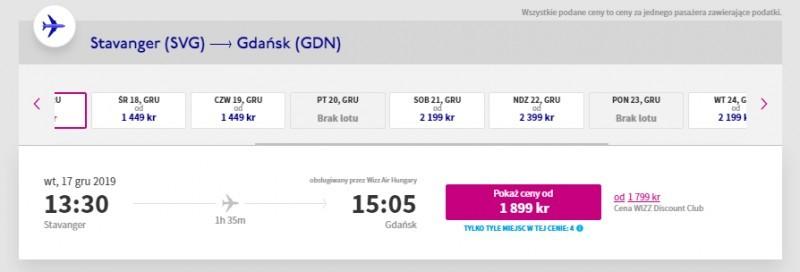 Połączenie lotnicze Stavanger-Gdańsk: ceny biletów na grudzień 2019.