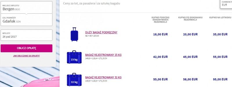 Kalkulator opłaty za bagaż