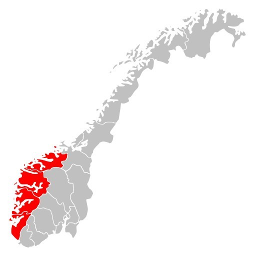 Region Vestlandet na mapie Norwegii.