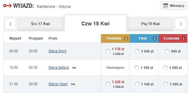 Przykładowe ceny za 1 osobę i samochód osobowy.