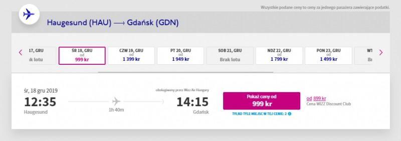 Przykładowe daty i ceny lotów z Haugesund do Gdańska przed świętami 2019.