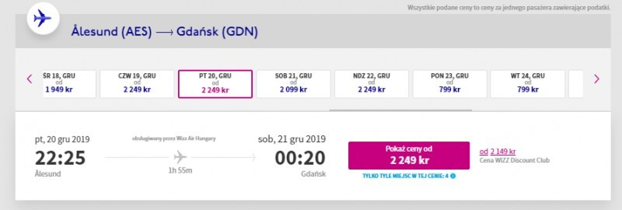 Loty w grudniu 2019 z Ålesund do Gdańska.