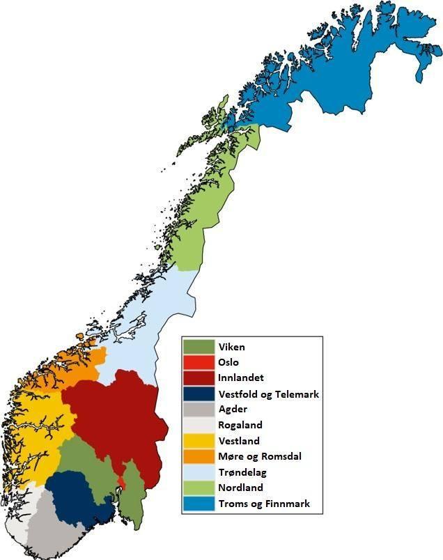 Tak prezentuje się nowy podział Norwegii na okręgi.