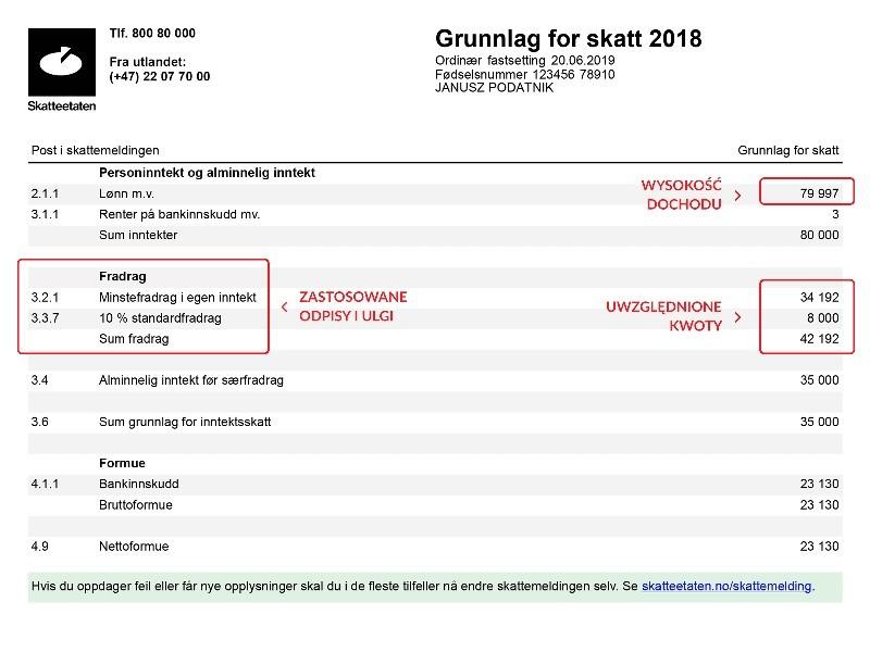 3 strona wyniku rozliczenia podatkowego (skatteoppgjør).
