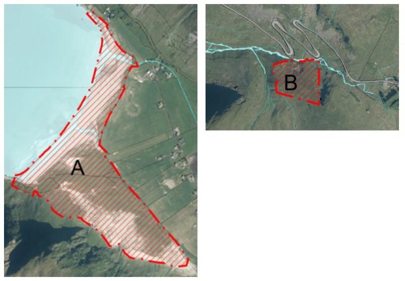 Mapa przedstawiająca obszary A i B w Hoddevik, na których zakazane jest biwakowanie.