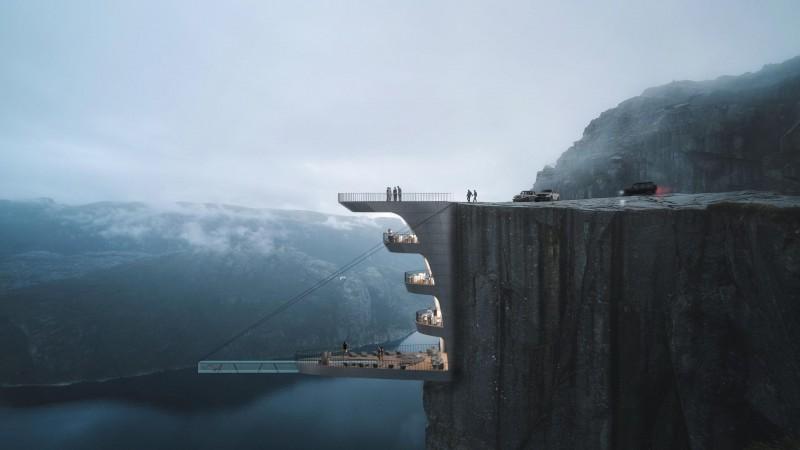 Hotel na Preikestolen miałby posiadać taras widokowy i basen.