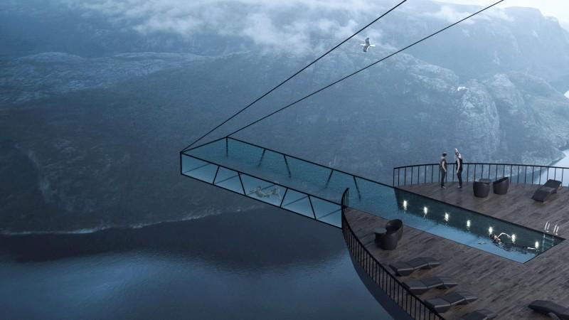 Wizualizacja hotelu na Preikestolen w Norwegii.