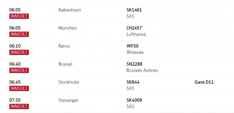 Tak wygląda poranna tablica odlotów na lotnisku w Oslo.