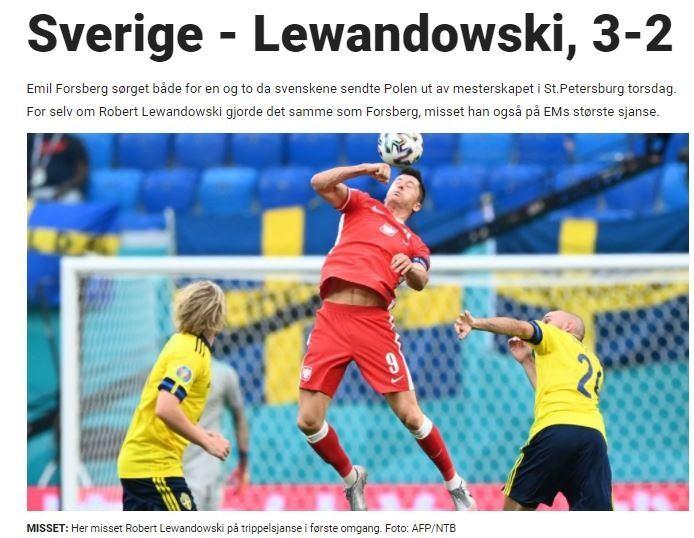 Zdjęcie otwierające artykuł podsumowujący mecz Polska vs. Szwecja przez Dagbladet.
