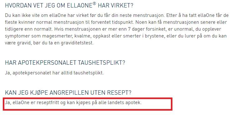 EllaOne można w Norwegii kupić bez recepty w każdej aptece.