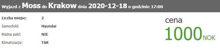 Przykładowa wspólna podróż autem z Norwegii do Polski z wyszukiwarki mojanorwegia.pl.