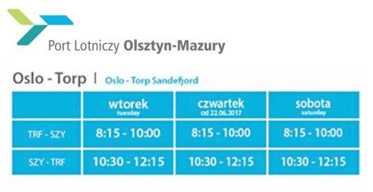 Rozkład lotów z Mazur do Oslo Torp