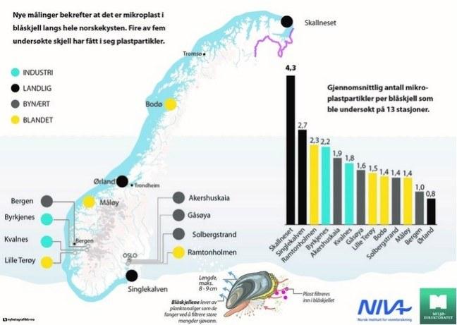 Grafika obrazująca badania przeprowadzone wzdłuż wybrzeża. W Finnmarku woda jest najbardziej zanieczyszczona plastikiem.