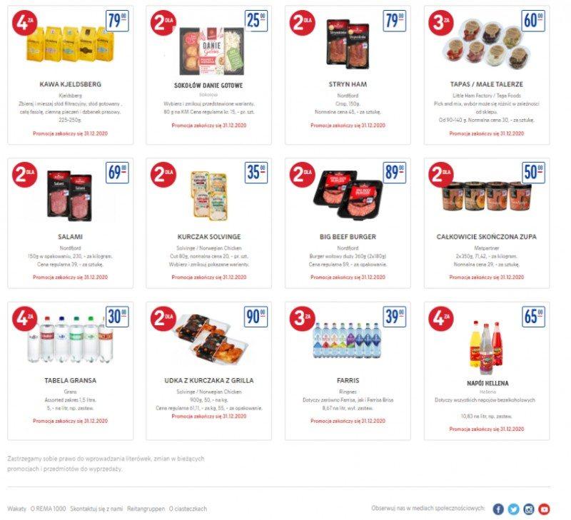 W gazetce REMA 1000 można już zauważyć gotowe dania, takie jak gołąbki oraz popularną w Polsce oranżadę Hellena.