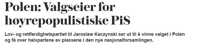 Tłumaczenie: Zwycięstwo w wyborach dla prawicowych populistów.