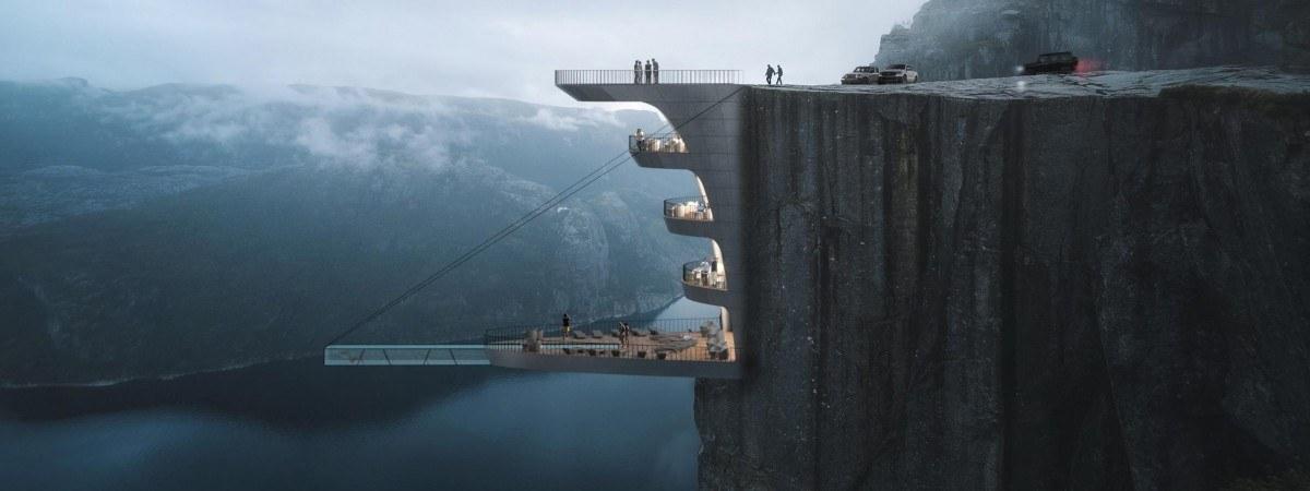 Nocleg dla ludzi o mocnych nerwach: hotel zawieszony na słynnym klifie Preikestolen