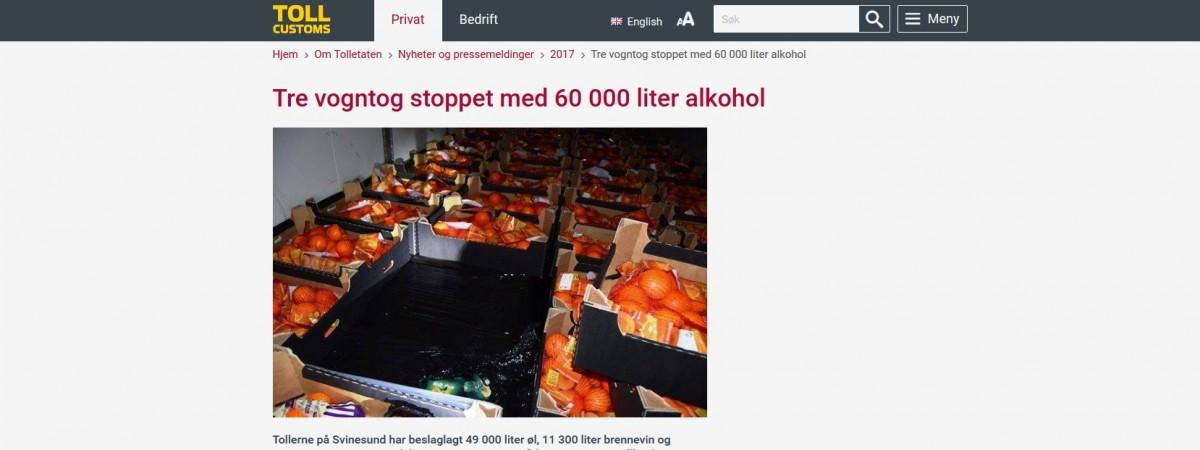Alkohol pod cebulą i pomarańczami: norwescy celnicy zatrzymali trzech polskich kierowców