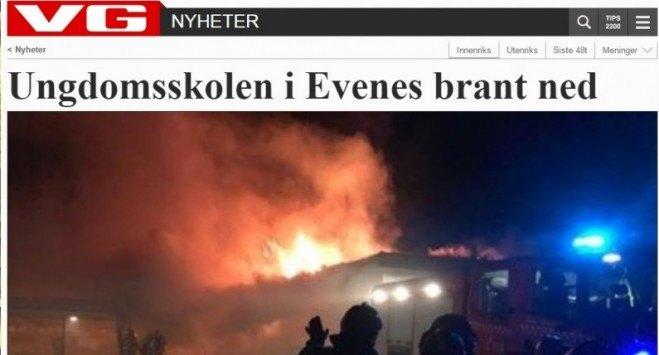 Pożar w szkole w Evenes. Ewakuowano 40 osób