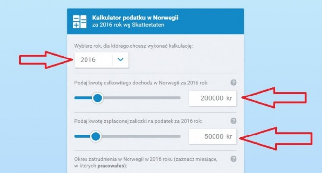 Oblicz swój zwrot podatku z Norwegii za 2016