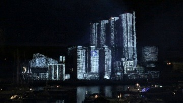 ‪3D projection mapping‬, ‪Factory Light Festival 2014‬,‪ Norway (original soundtrack)