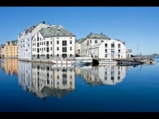 The beautiful city of Ålesund on a sunny day, Norway