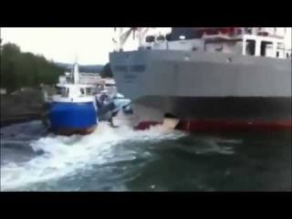 Cement Carrier Ship Crashes into Boats in Norway