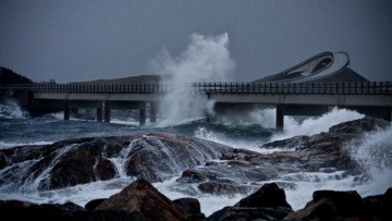 Driving On A Most Dangerous Road On A stormy Day (Atlantic Ocean Road, Norway)