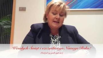 Świąteczne życzenia po polsku od Premier Norwegii, Erny Solberg