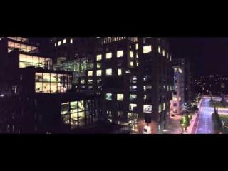Oslo Barcode at night - Aerial 4K